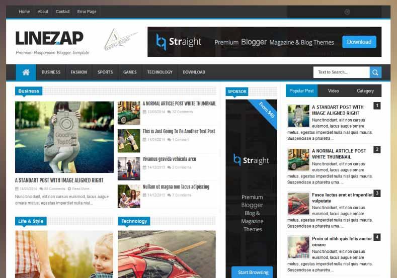 Linezap responsive blogger template free download (SEO Mobile friendly) adsense approval