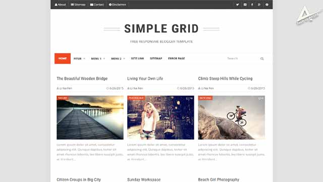 Simple Grid responsive blogger template   Simple Grid Blogger Template