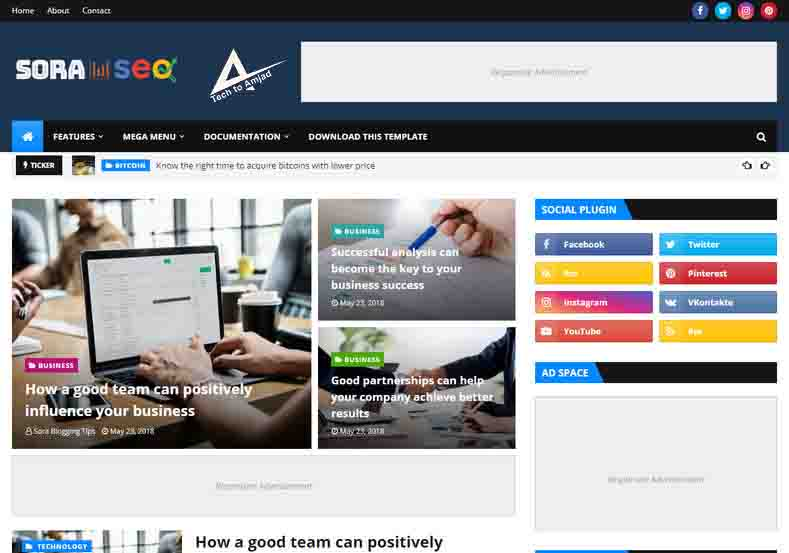 sora seo blogger template premium version free download